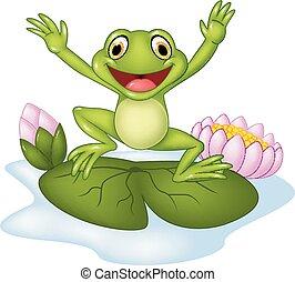 Cartoon happy frog jumping - Vector illustration of Cartoon...