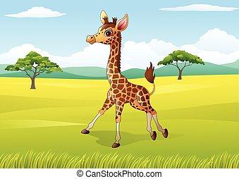 Cartoon Happy giraffe in the jungle
