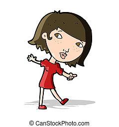 cartoon happy girl gesturing to follow