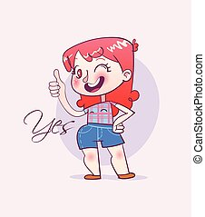 Cartoon happy girl making thumbs up sign