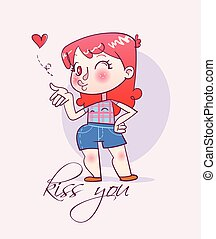 Cartoon happy girl sends an air kiss
