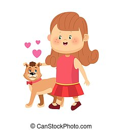 cartoon happy girl walking with cute dog
