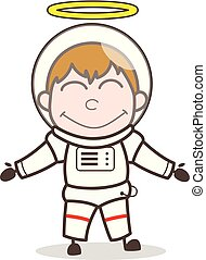 Cartoon Happy Good Space Boy Man Vector Illustration
