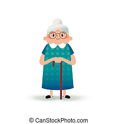 Cartoon happy grandmother with a cane. Old woman with...