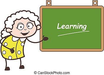 Cartoon Happy Granny  Presenting a Board Vector Illustration