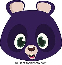 Cartoon happy Himalayan bear head.