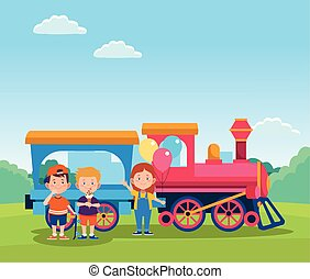 cartoon happy kids and train with wagon