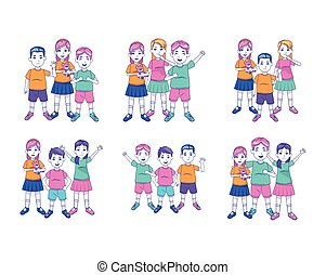 cartoon happy kids icon set, colorful design