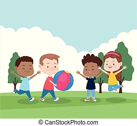 cartoon happy kids playing in the park, colorful design