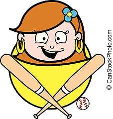 Cartoon Happy Lady Face with Baseball Bat Vector