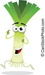 Illustration of a funny happy cartoon green leek character running