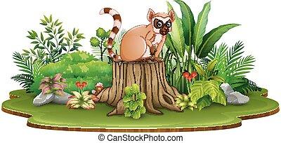 Cartoon happy lemur sitting on tree stump with green plants