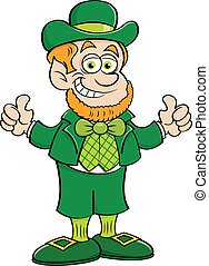Cartoon happy leprechaun giving thumbs up.
