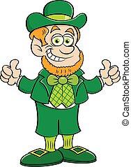 Cartoon happy leprechaun giving thumbs up.