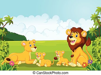 Cartoon happy lion family in the ju