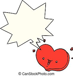 cartoon happy love heart and speech bubble