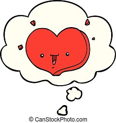 cartoon happy love heart and thought bubble