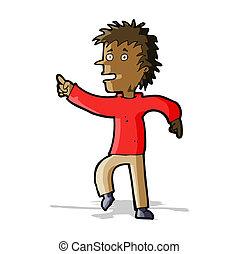 cartoon happy man pointing