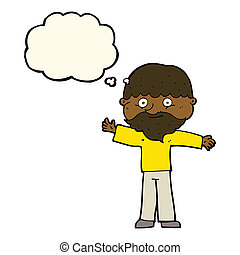 cartoon happy man with beard with thought bubble
