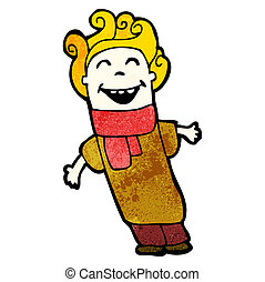 cartoon happy man with curly hair