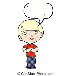 cartoon happy man with folded arm with speech bubble