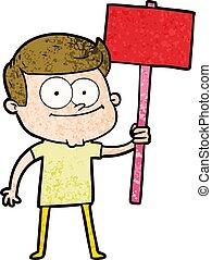 cartoon happy man with placard