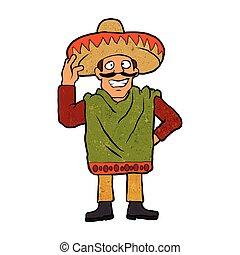 Cartoon happy Mexican.