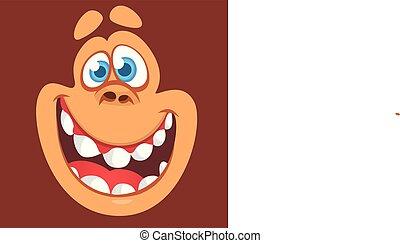 Cartoon happy monkey face avatar