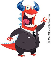 Cartoon happy monster  office clerk with a pointer presenting. Vector illustration of dragon in a suite