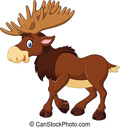 Cartoon happy moose isolated - Vector illustration of...