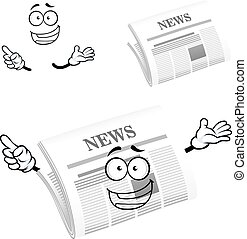 Cartoon happy newspaper icon character