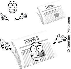Cartoon happy newspaper icon character