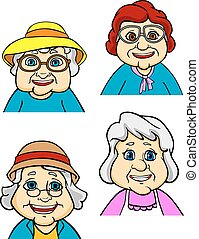 Cartoon happy old women and seniors