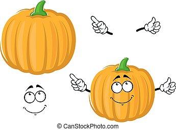 Cartoon happy orange pumpkin vegetable