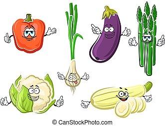 Cartoon happy organic vegetable characters