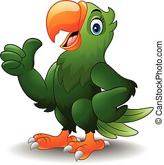 Cartoon happy parrot with thumb up