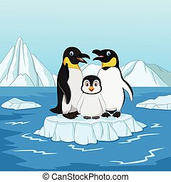 Cartoon happy penguin family standing on ice floe - Vector...