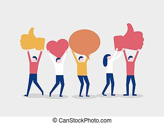 Cartoon happy people hold likes. Social media or network concept.