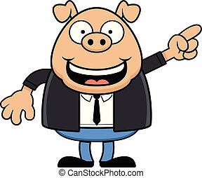 Cartoon Happy Pig Wearing a Suit and Pointing