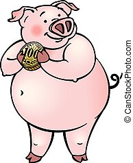 Cartoon happy pink pig holding a coin money.