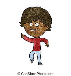 cartoon happy pointing man