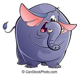 A happy elephant looking at camera and waving happily its ears and tail