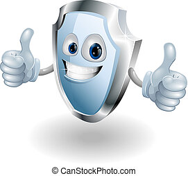 Cartoon happy shield man