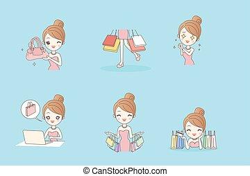 Cartoon happy shopping young woman