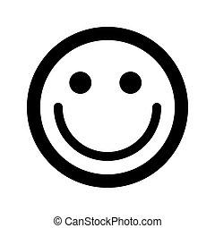 Cartoon happy smile face emoticon icon in flat style
