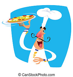 Cartoon happy smiling chef serving a pizza in a tray, wearing a white suit and tall hat