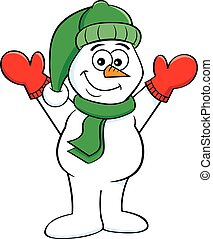 Cartoon happy snowman with his arms in the air.