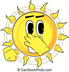 Cartoon happy sun holding his nose because of a bad smell.