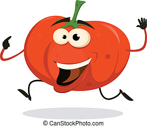 Cartoon Happy tomato Character Running