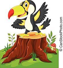 Cartoon happy toucan on tree stump